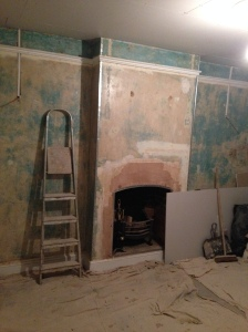 Electrics in, wallpaper off, all set to plaster